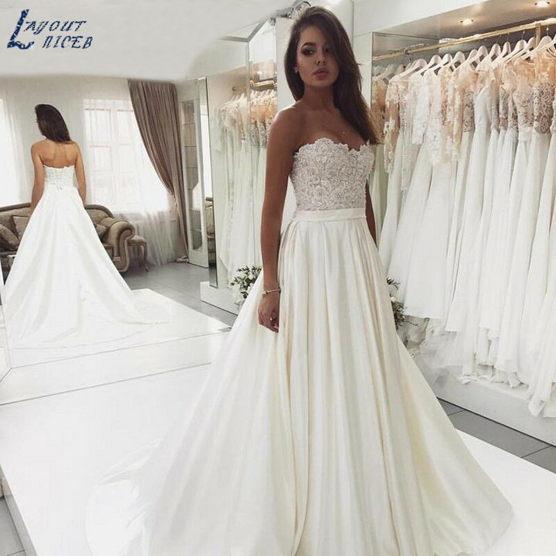 Zl1008 New Gorgeous Strapless A Line Satin Lace Wedding Dresses