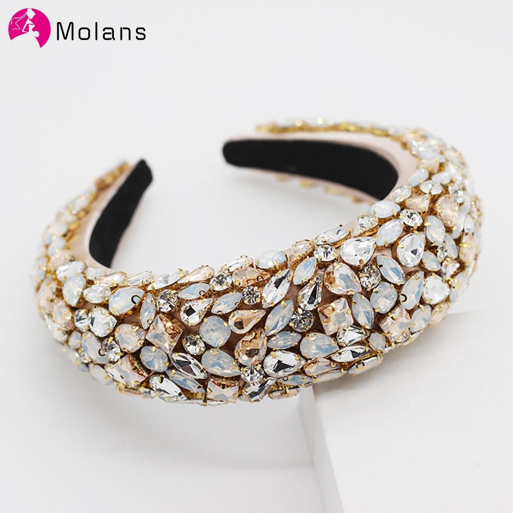 Molans Luxurious Padded Rhinestones Headbands Full Crystal Hair Bands Women Headwear New Hair Accessories
