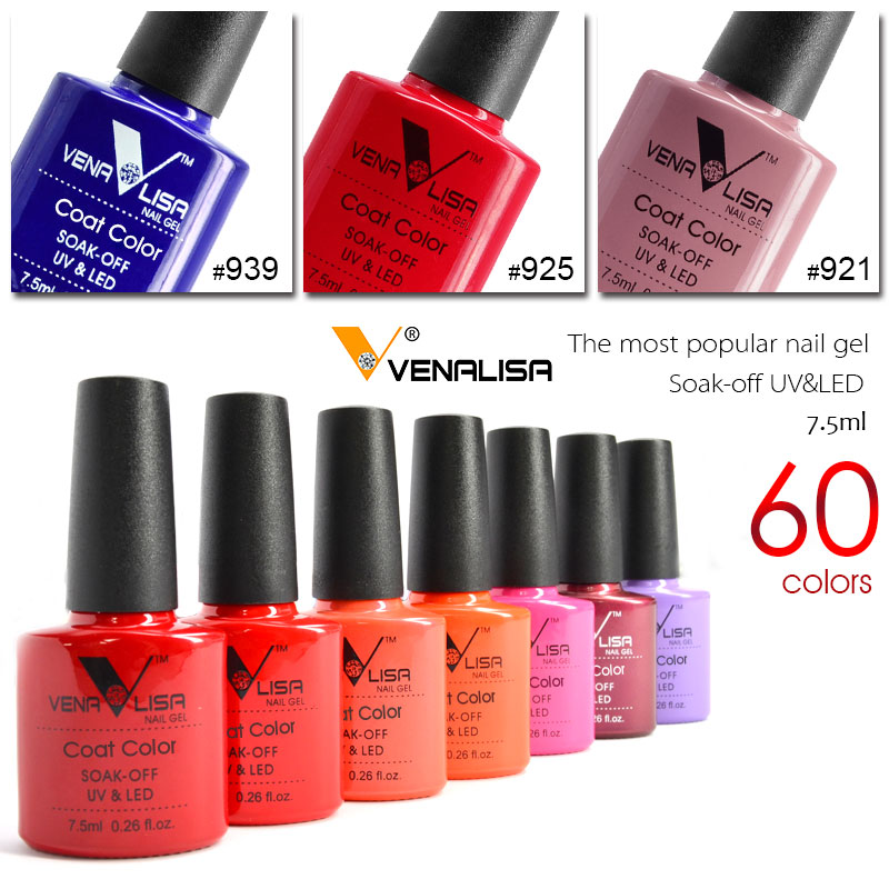 New Free Shipping Nail Art Design Manicure Venalisa 60Color 7.5Ml Soak Off Enamel Gel Polish UV Gel Nail Polish Lacquer Varnish 6