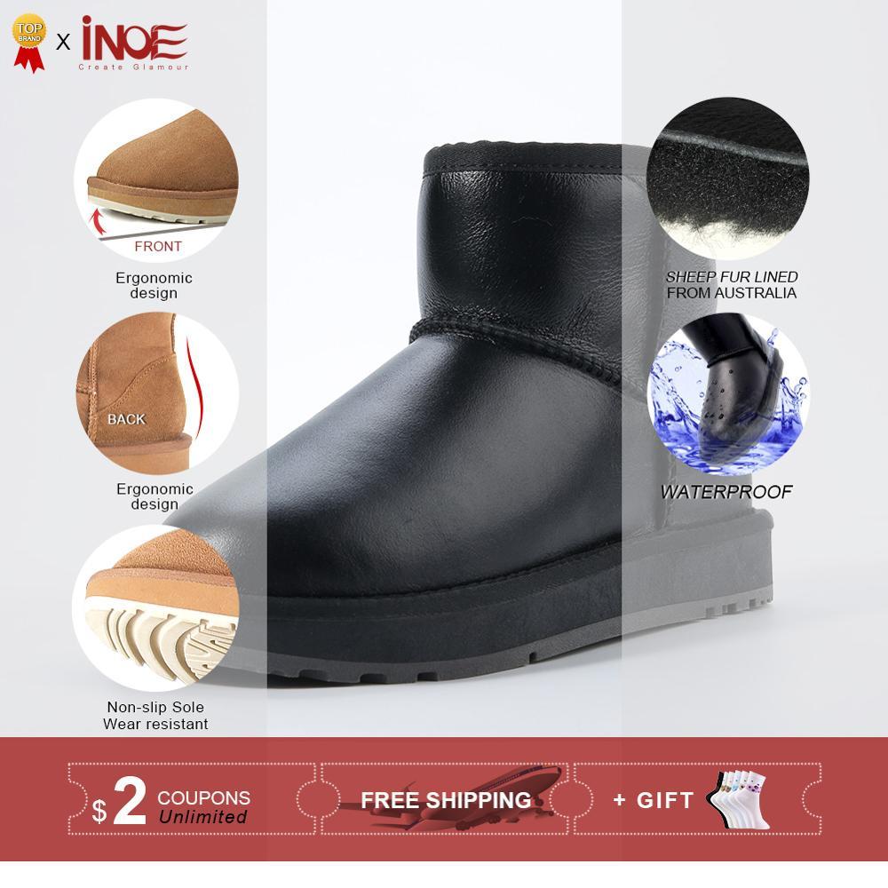 Ayakk.'ten Ayak Bileği Çizmeler'de INOE klasik su geçirmez koyun derisi deri kürk astarlı kısa kış kar botları kadınlar için rahat kış ayak bileği ayakkabı siyah gri 35  44'da  Grup 2