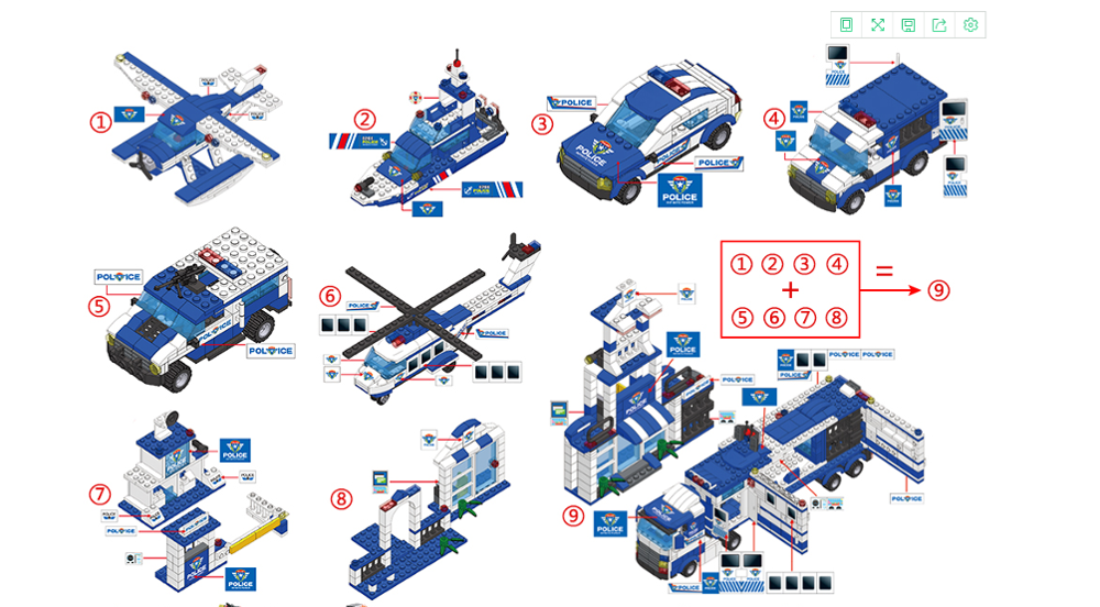 Image 5 - 1122pcs 8IN1 SWAT City Police Truck Car Building Blocks Compatible  City Police Station Bricks Toys for Boys ChildrenBlocks   -