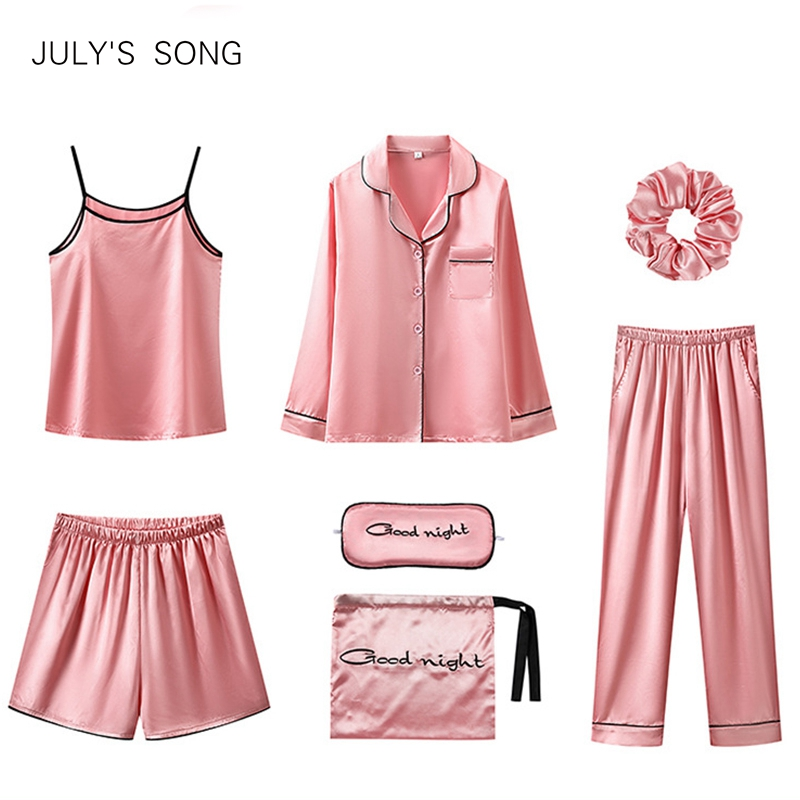 JULY'S SONG 7 Piece Women Pajamas Set Stain Soft Pyjama Spring Summer Women Nightwear Solid Faux Silk Shorts Homewear 2020