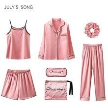 JULYS SONG 7 Pieces Women Pajamas Set Stain Soft Pyjama Spring Autumn Female Nightwear Solid Faux Silk Shorts Homewear 2020
