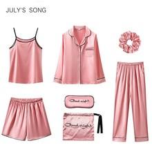 JULY'S SONG 7 Pieces Women Pajamas Set Stain Soft Pyjama Spring Autumn Female Nightwear Solid Faux Silk Shorts Homewear 2020