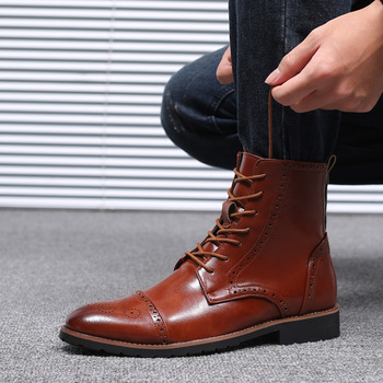 Misalwa Collective Men s Lace up Motorcycle Boots Dress Casual Comfort Chelsea Boot Zapatos Men