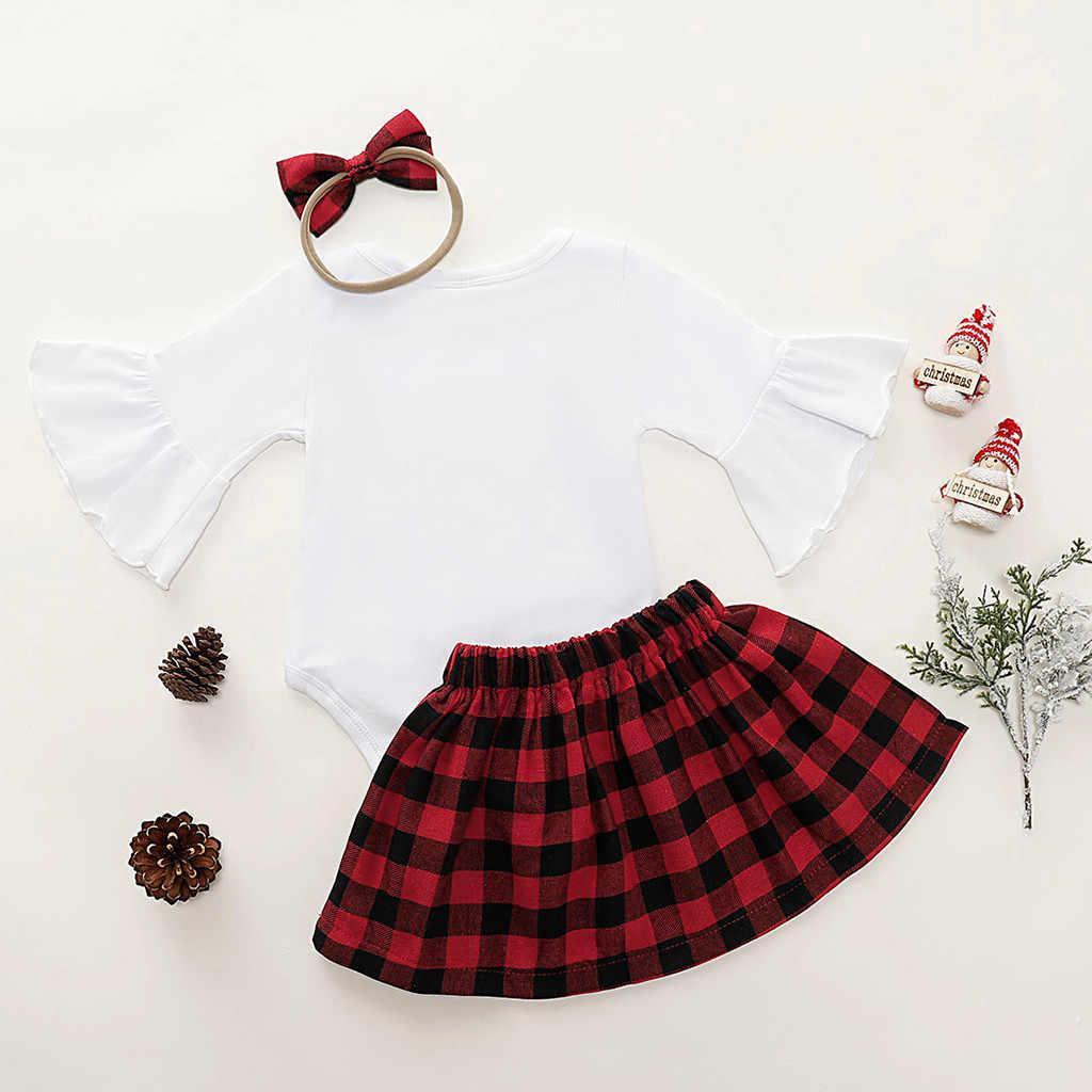 Niemowlę ubranie dla dziewczynki ustawia 2020 moje pierwsze święta dziewczyna ubrania nadruk świąteczny z długim rękawem Romper + spódnice w kratę + opaski strój