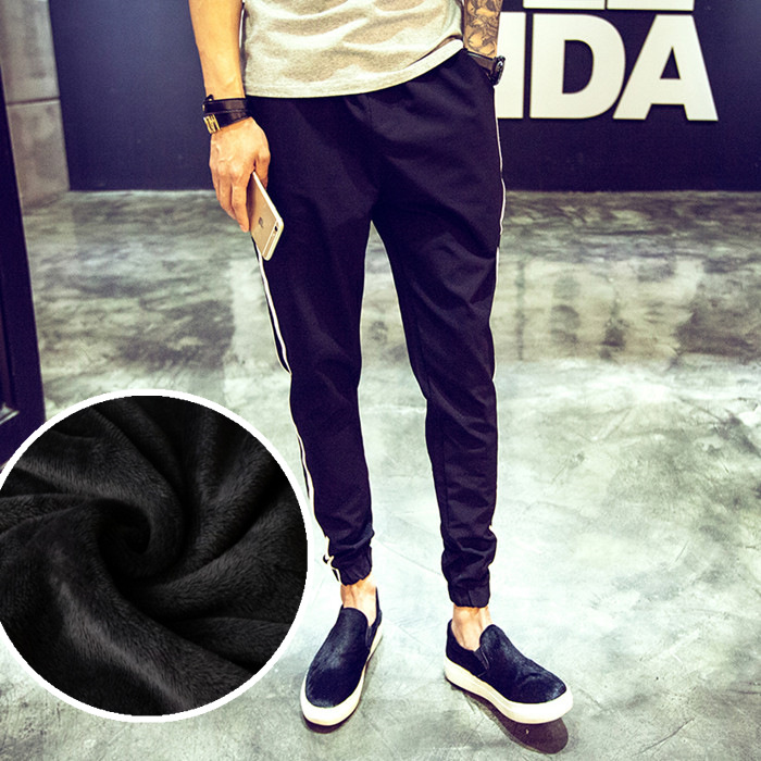 Plus Velvet Warm Athletic Pants MEN'S Trousers Winter Closing Skinny Sweatpants Men's Harem Pants Slim Fit Teenager Pants