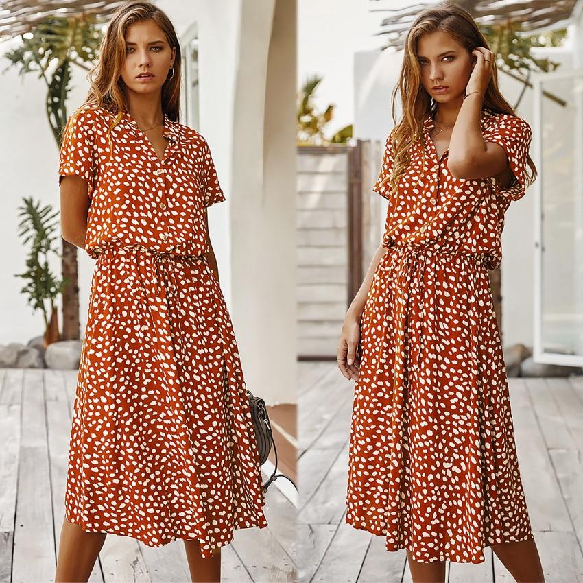 Dots Print White Short Sleeve Midi Boho Beach Dress 10