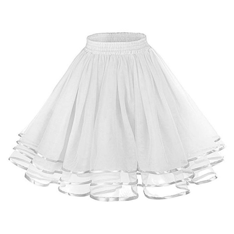 Women's Retro Petticoat Tutu Bottom Skirt Crinoline Dance Belt Three Layer Mesh Ribbon Multicolored Poncho Skirt Dance Party Wed