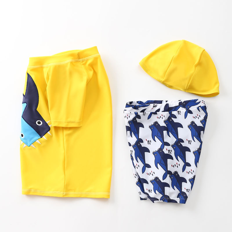 KID'S Swimwear Men's Split Type Boy Large Children Hooded South Korea Tour Bathing Suit Embroidered Whale Baby Swimsuit For Boys