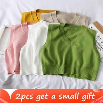 Autumn Sweater Vest Women's Vest  Sweater Korean Elegant Student V-neck Pullover Loose Casual Knitting Tops Outerwear Vest