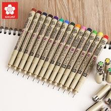 Sakura caneta marcadora artística, canetas de pigma micron, conjunto de desenho, caneta delineadora colorida, material de papelaria coreano