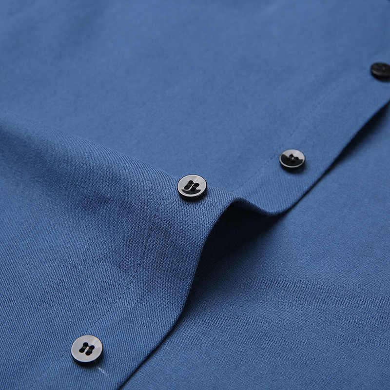 Рубашка мужская с воротником-стойкой, хлопок, длинный рукав, приталенная, повседневная, брендовая, однотонная, удобная осенняя