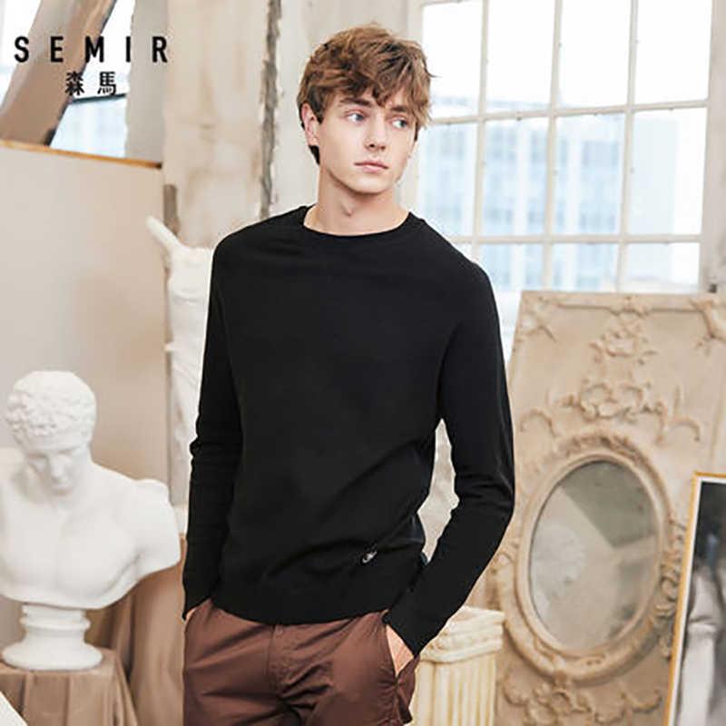 Nueva Marca SEMIR, suéter de lana para hombre, moda Otoño 2019, suéter tejido de manga larga, suéter de cachemira para hombres, ropa de alta calidad