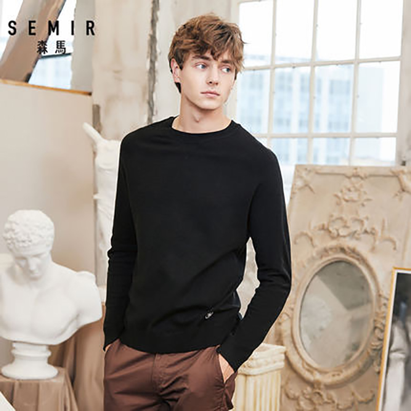 SEMIR New Brand Wool Sweater Men 2019 Autumn Fashion Long Sleeve Knitted Pullover Men Cashmere Sweater High Quality Clothes