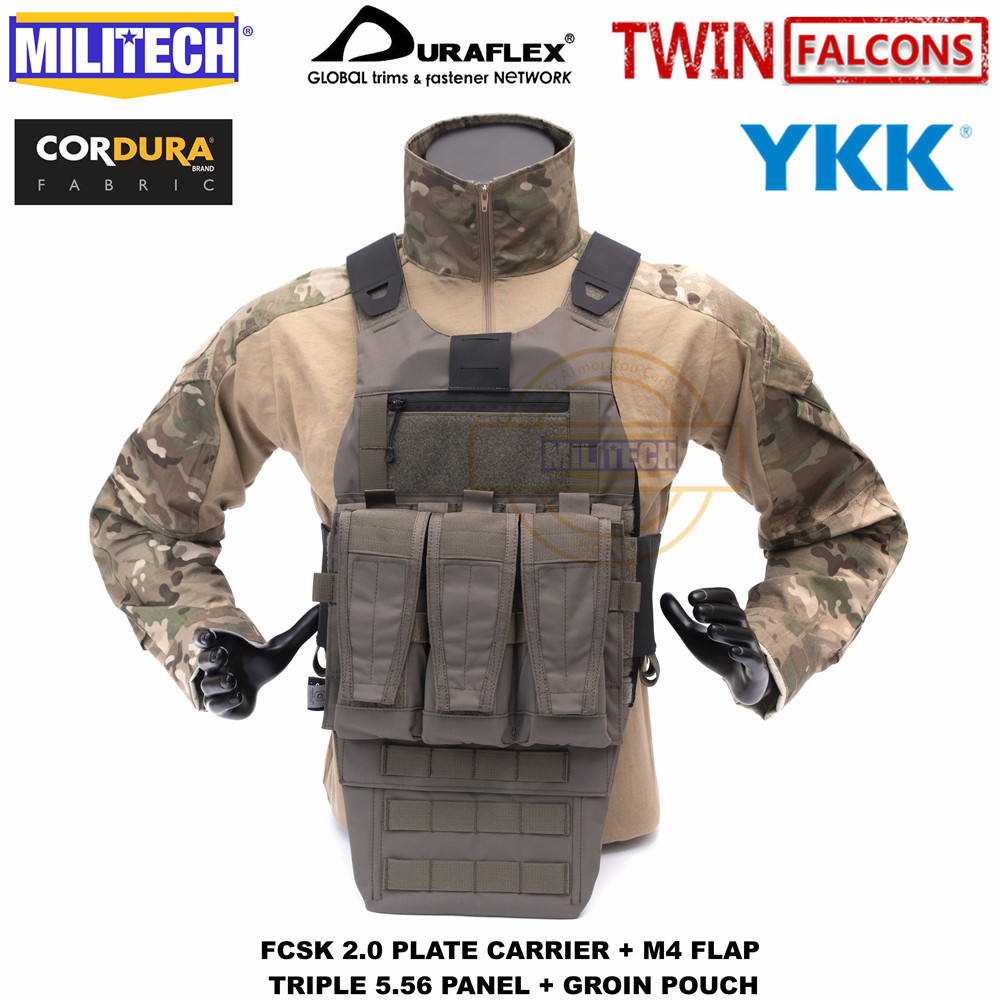 MILITECH TW FCSK 2,0 Advanced Slickster Ferro Plate Carrier с M4 клапаном тройной 5,56 Mag панель и Groin Pouch Loadout набор сделки