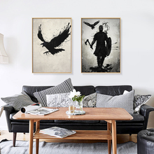 Japanese Ink Canvas Art Print Poster Samurai Black White Wall Art Paintings for Living Room Decoration Home Decor