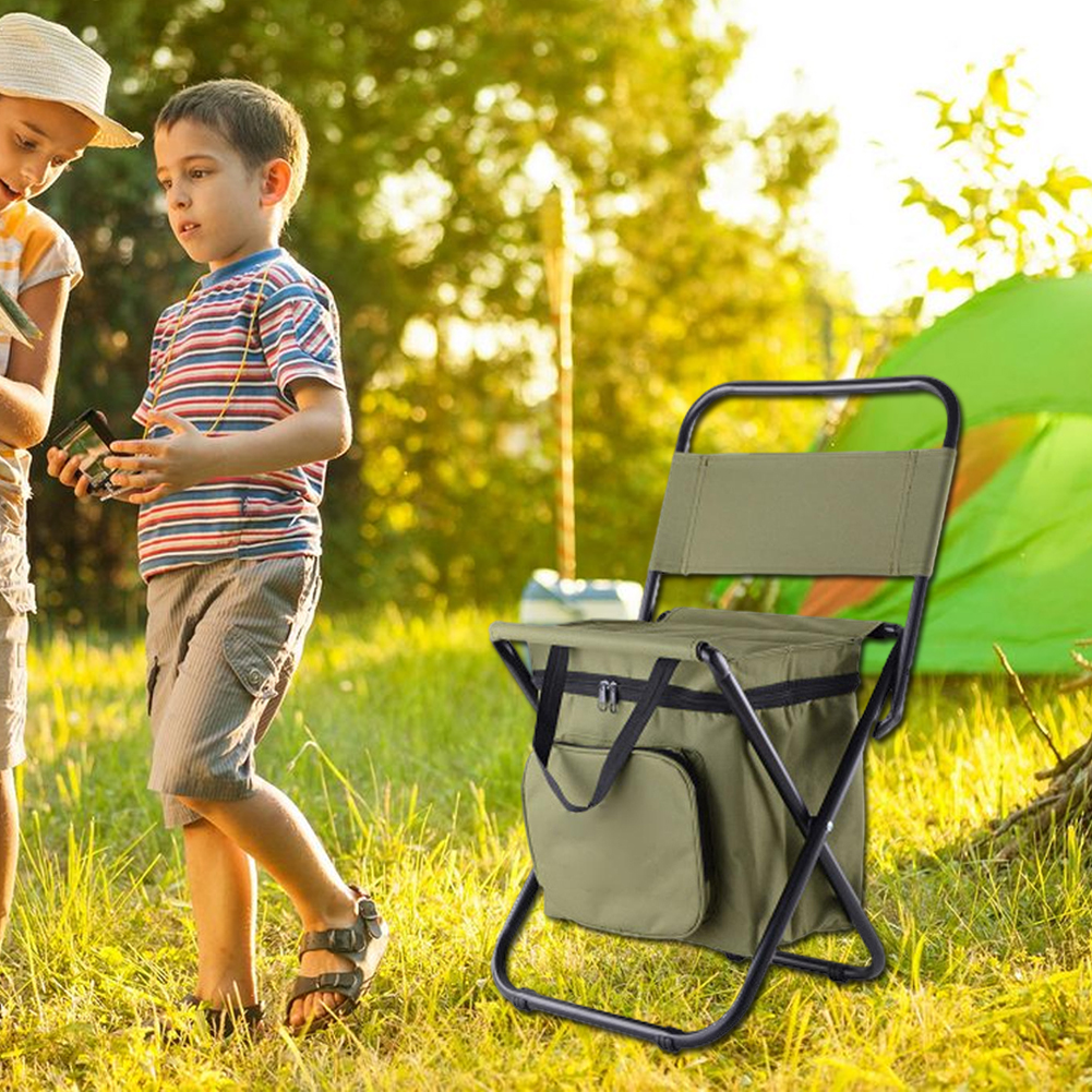 Camping Chair Light Outdoor Fishing Chair Folding Lightweight Backpacking Camping Hiking Fishing Stool With Insulated Bag