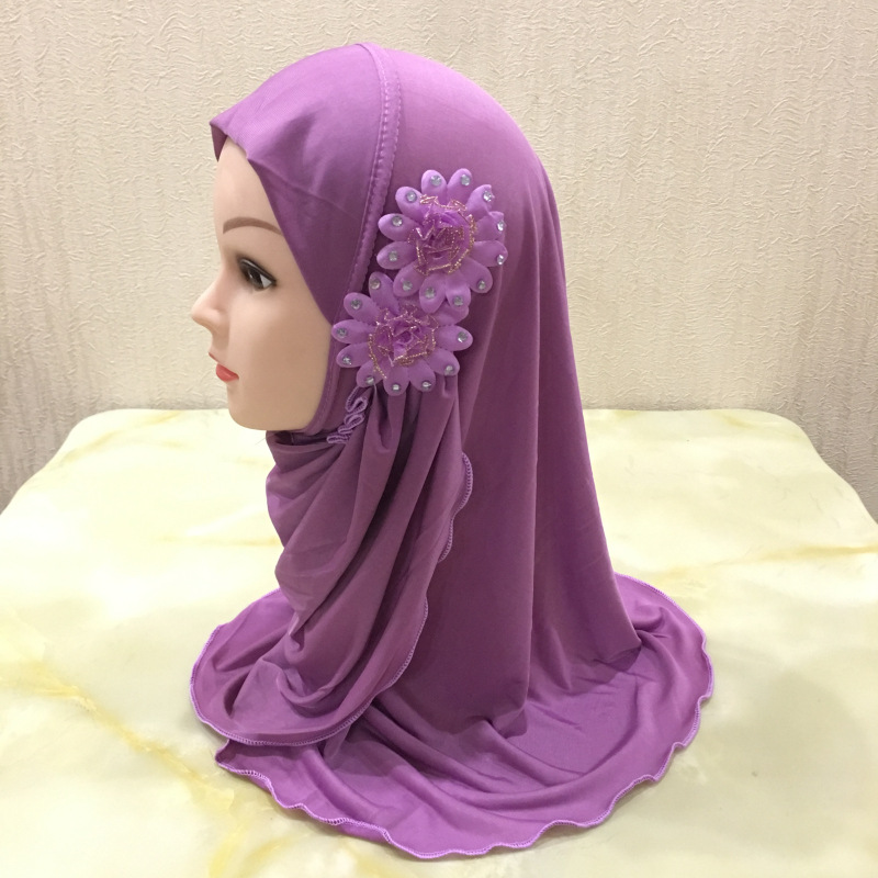 Solid Flowers Head Scarf Children Inner Caps For Hijab Islamic Clothing Wrap Muslim Kids Hijab Underscarf Bonnet 2 To 7 Years