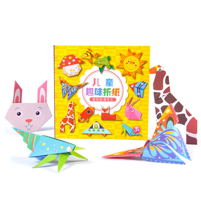 Cartoon Origami Paper Colorful Book Children Toy Animal Pattern 3D Puzzle Handmade DIY Craft Papers Educational Toys 108 PCS 5