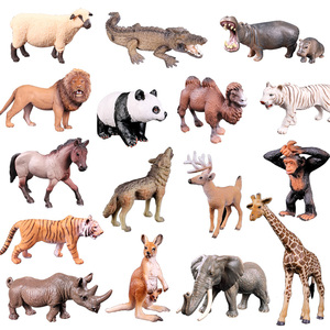 Boys Girls DIY Wild Jungle Zoo Animal Models Toy Plasti Action Figures Collection Doll Learning Educational Children's Toys Gift