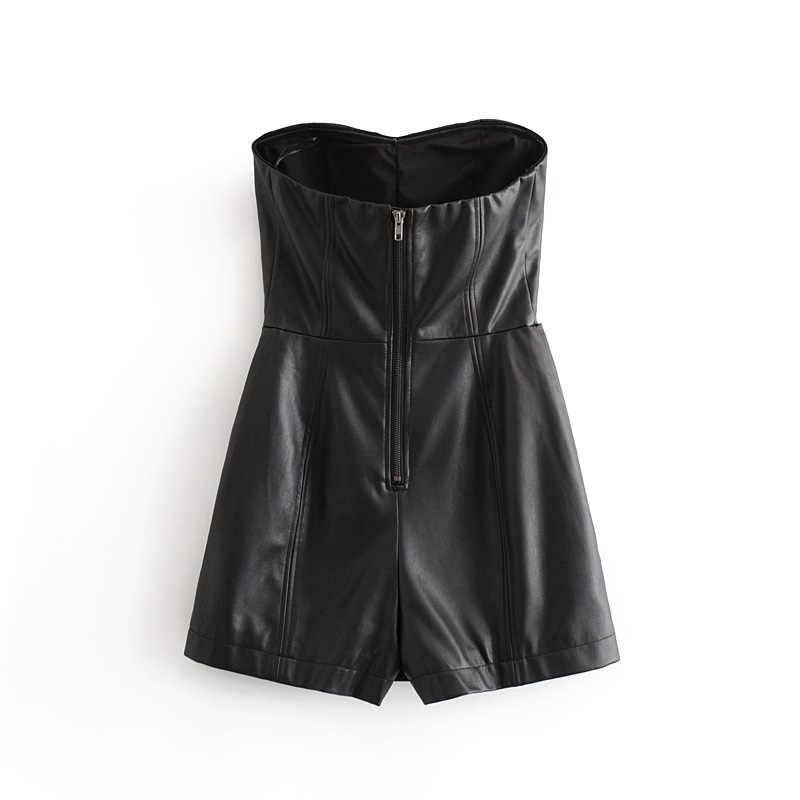 Seksowny Backless czarny Pu skórzany kombinezon kobiet przyciski solidny Skinny imprezowy kostium pani bez rękawów zamek stylowe klubowe body