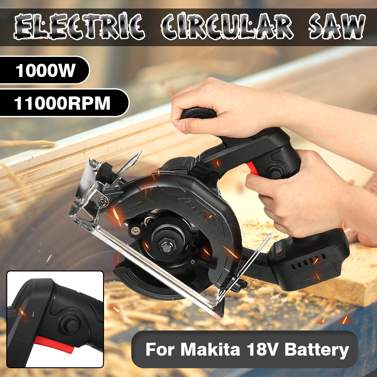 Brushless 125mm Circular Electric Saw Handle Power Tools 1000w 11000RPM Woodworking Cutting Machine For Makita 18V Battery