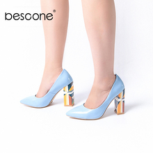 Купить с кэшбэком BESCONE Stylish Women Pumps Slip-On Shallow Pattern Square Heel Shoes Basic Sexy Pointed Toe Handmade Dress Ladies Pumps BY113