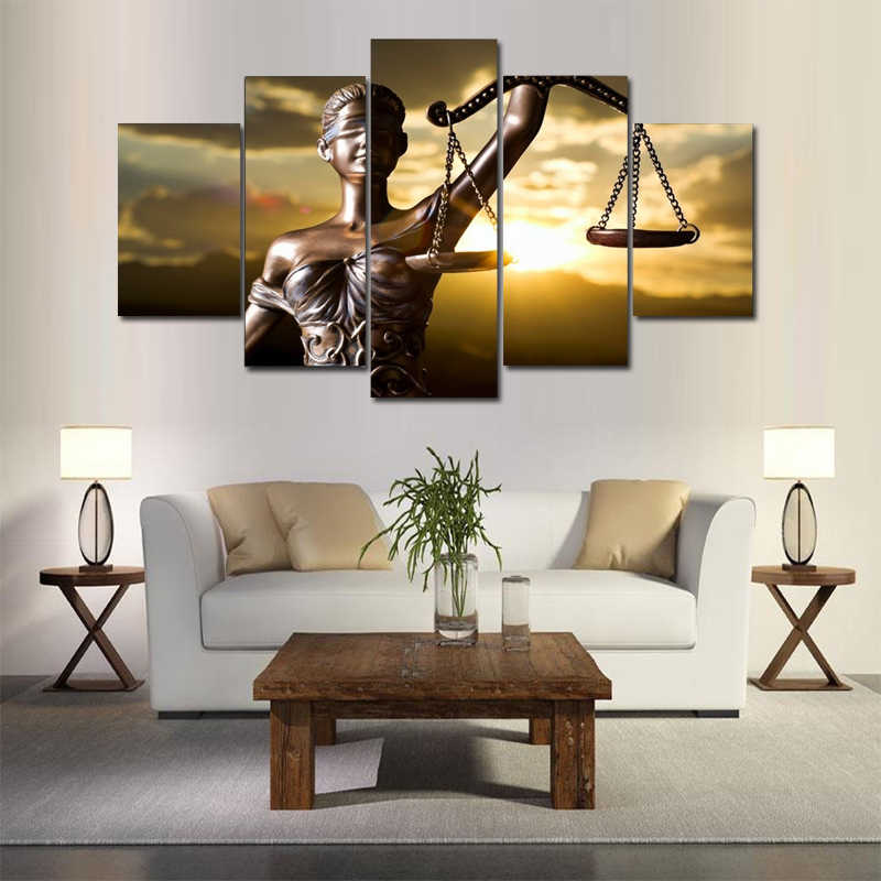 5 Panels Modern Canvas Art Print Goddess of Justice Themis Wall Home Decor Interior Picture Landscape Painting for Living Room