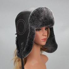 Hat Earmuffs Russian-Hat Rex-Rabbit-Fur Winter Ear-Flapped Women Lei Bonnet Feng-Cap