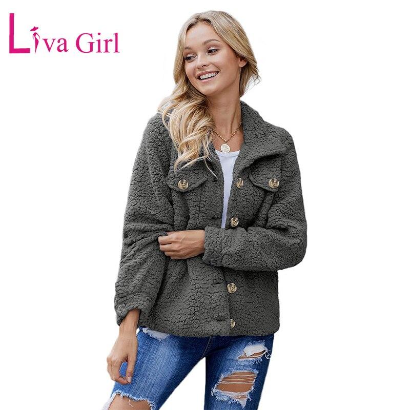 LIVA девушка черный/серый/хаки Повседневная шерпа с длинным рукавом плюшевая куртка женская зимняя теплая Женская куртка на пуговицах и куртки, верхняя одежда