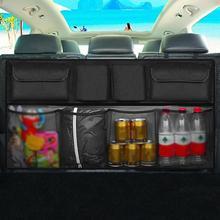 PU Leather Universal Auto Car Organizer Trunk Rear Back Seat Storage Bag Mesh Net Pocket Stowing Tidying Interior Car Styling