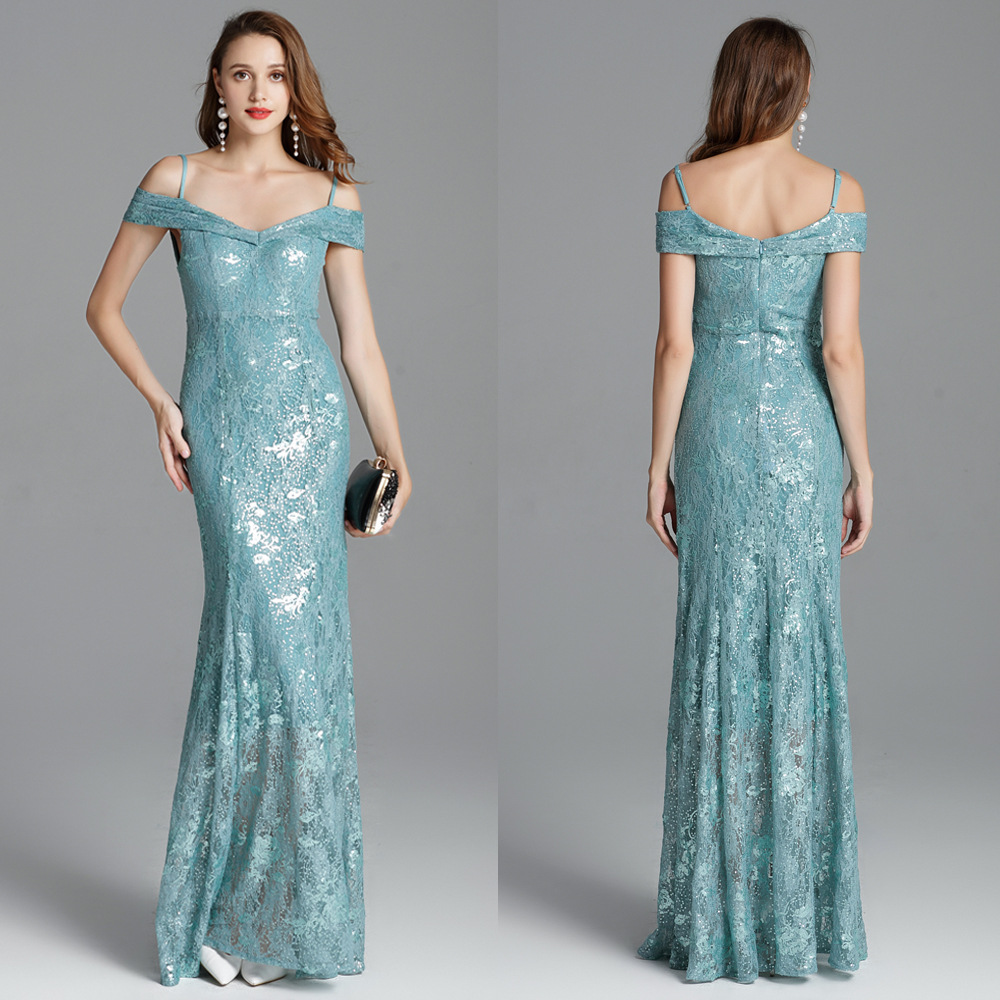 Banquet Formal Dress Autumn New Style Off-Shoulder Fishtail Sheath Slimming Lace & Amp; Embroidery Sequin Long Late Formal Dress