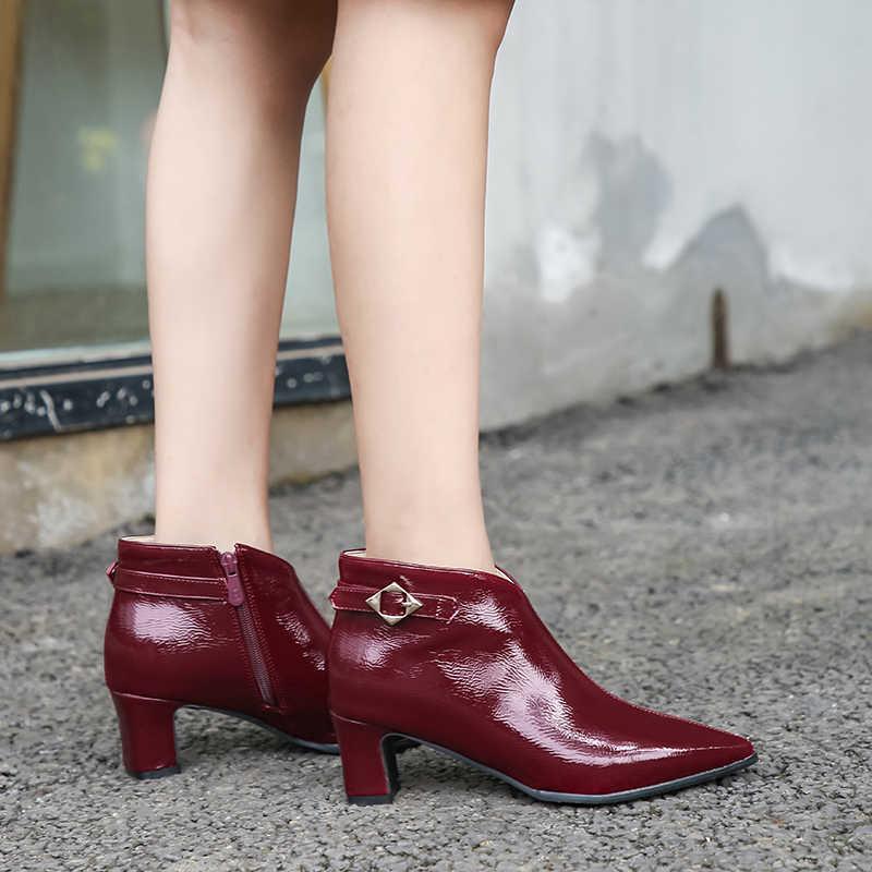 INS sıcak kadın yarım çizmeler artı boyutu 22-28cm rugan Avrupa ve Amerika Mikrofiber sivri burun kadın yüksek topuk çizmeler