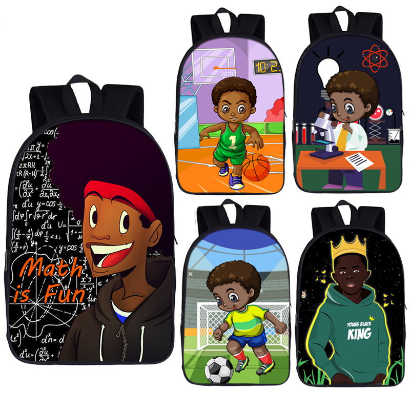 Afro Brown Science Boy Print Backpack Children School Bags For Teenage Africa Boys Daypack Student Laptop Backpacks Book Bag