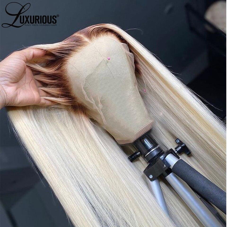 Ombre loira perucas de cabelo humano para as mulheres em linha reta 4t613 brasileiro remy cabelo 613 peruca dianteira do laço perucas de renda transparente pré arrancadas