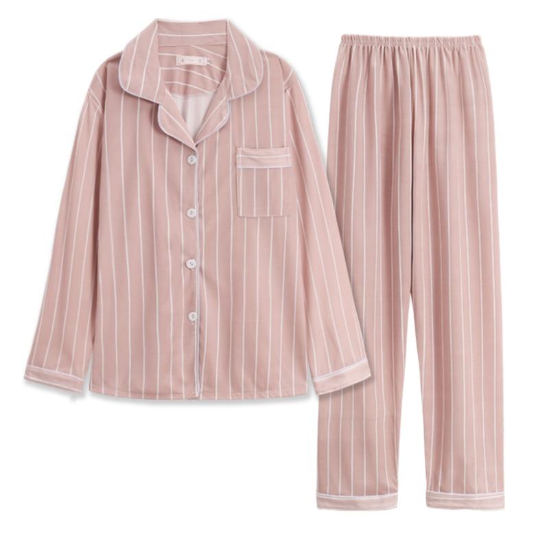 Женские пижамные комплекты WAVMIT, женские хлопковые Пижамные комплекты, однотонные полосы, пижамный комплект с длинным рукавом, женская пижа...