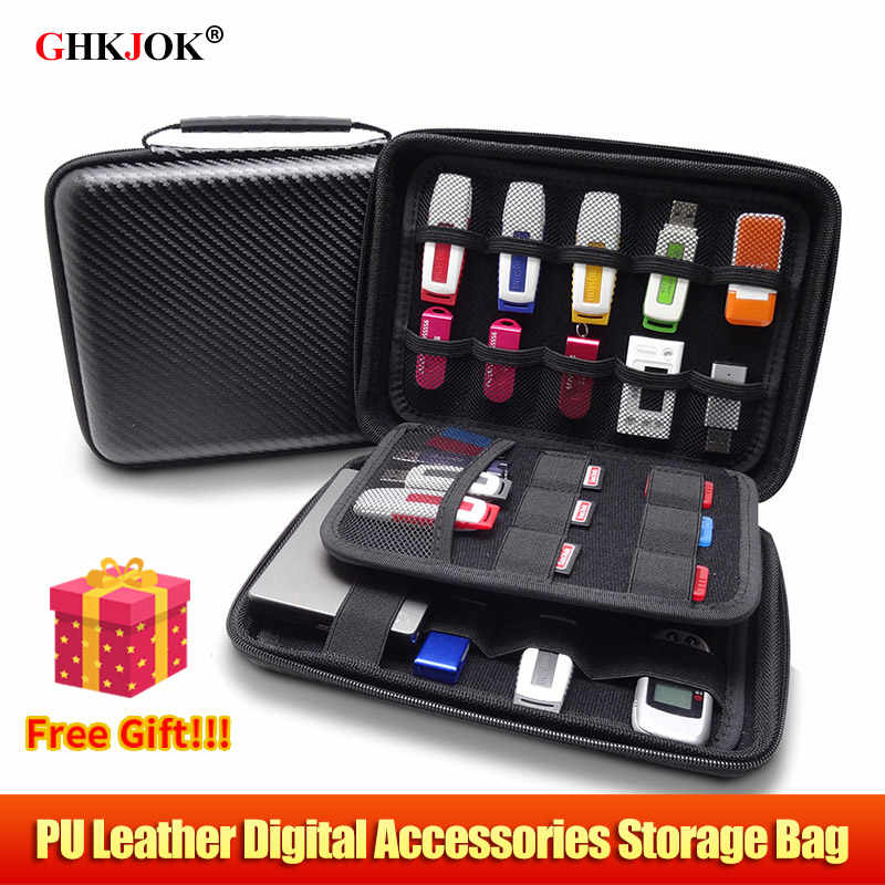 NEW PU Leather Big Size Power Bank Case Bag HDD Organizer Case Electronics Cable  USB Flash Drive Memory Card Travel Bags