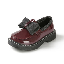 CUZULLAA Kids Patent Leather Shoes For Girls Glitter Butterf