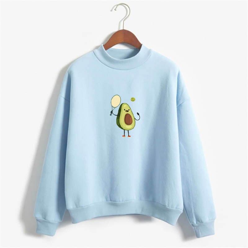 Avocado Falls In Love With Tennis Sweatshirt Hoodie Avocado Love Sport Print Fleece Loose Sweatshirt Female Harajuku Pullover