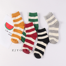 Women Cotton Socks Fashionable Spring Autumn Short Color Korean Crew Casual Striped