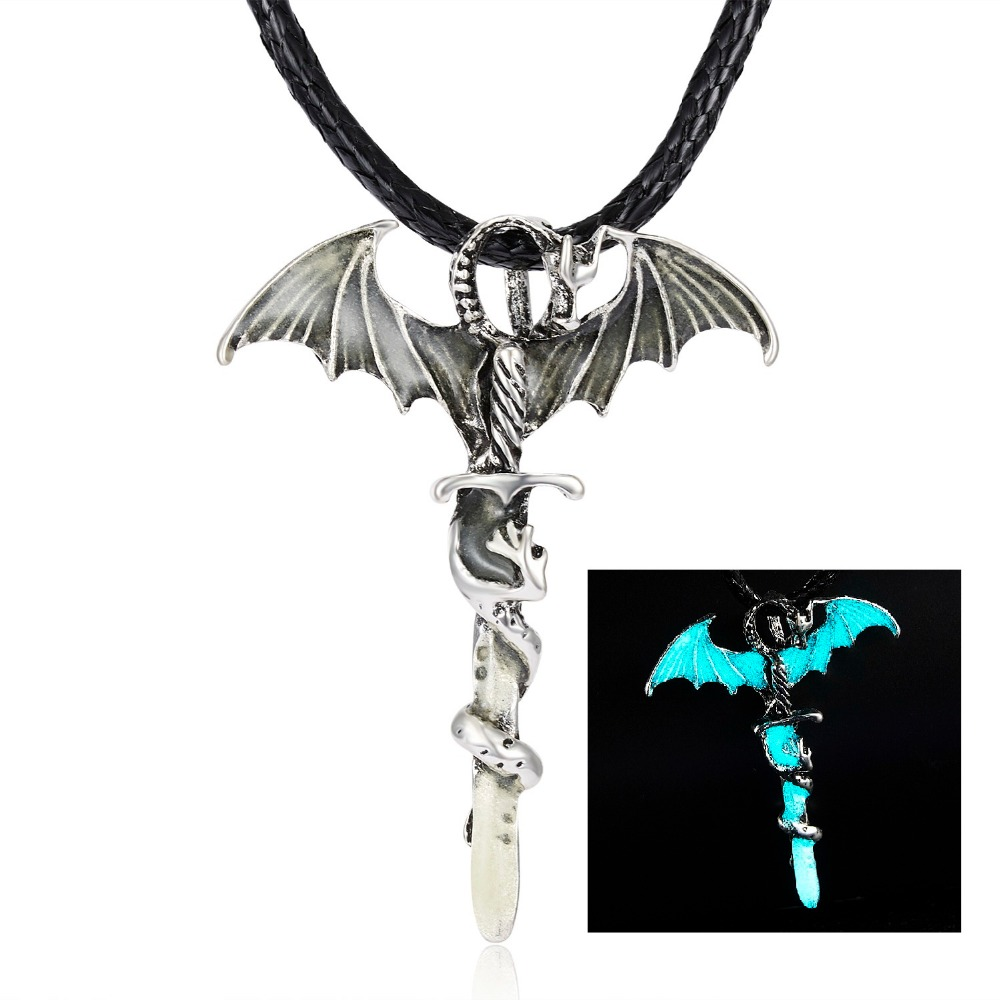 Hee75ba0e677e4d9c8aa581d36c0c9b3cp - Vintage Glow In The Dark Necklace Sword Dragon Necklaces For Man Metal Animal Pendant Night luminous Fluorescence