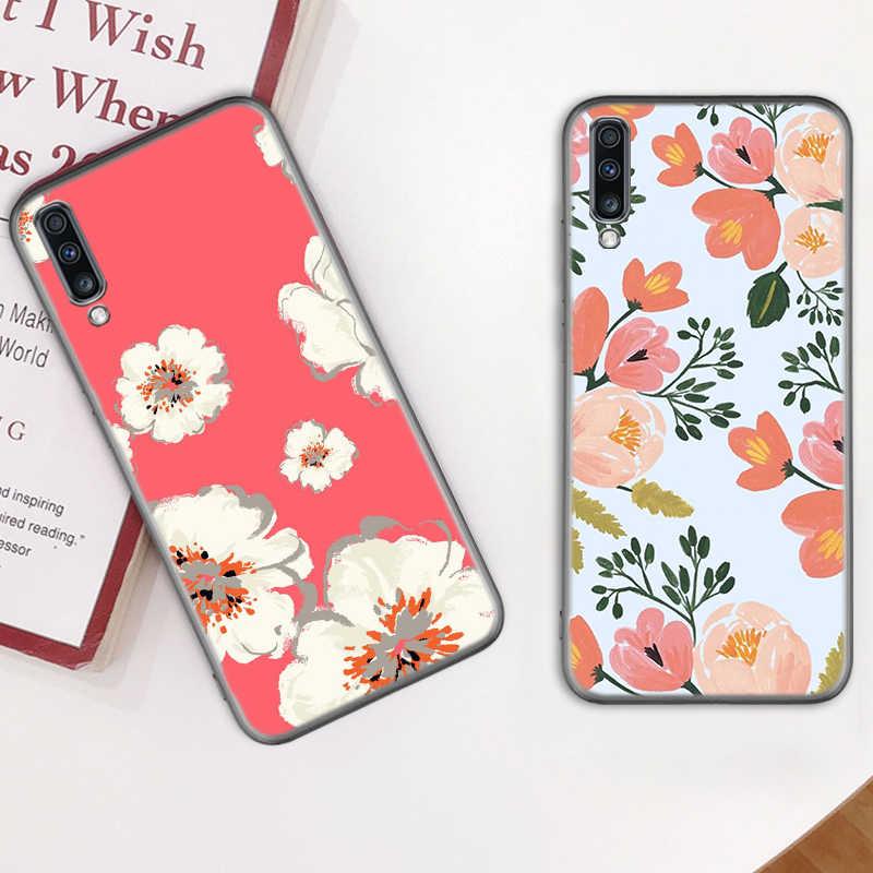 Flores rosa caso para Samsung Galaxy A50 A70 A90 A80 A60 A30 A20e A10 A70s A50s A30s A10e negro TPU Coque teléfono Casos