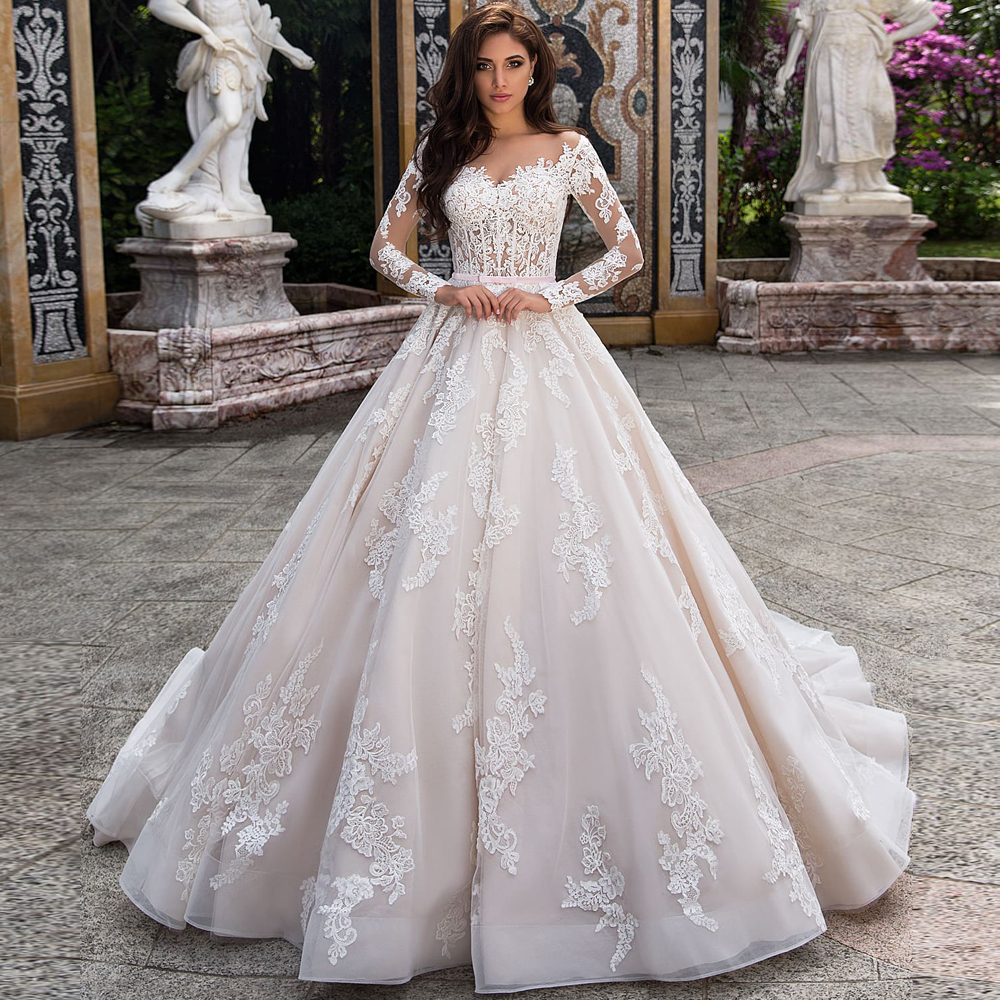 Charming Long Sleeves Wedding Dresses Sheer Neck Court Train Muslim Bridal Gown Robe De Mariage Lace Bride Dress