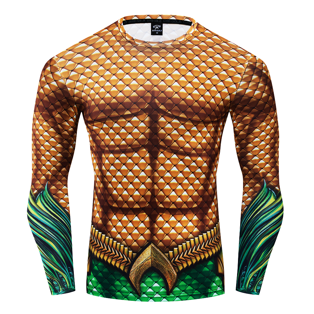 DC Superhero Aquaman Cosplay Compression Premium Print Costume T-shirt Finess Gym Quick-Drying Tight Tops