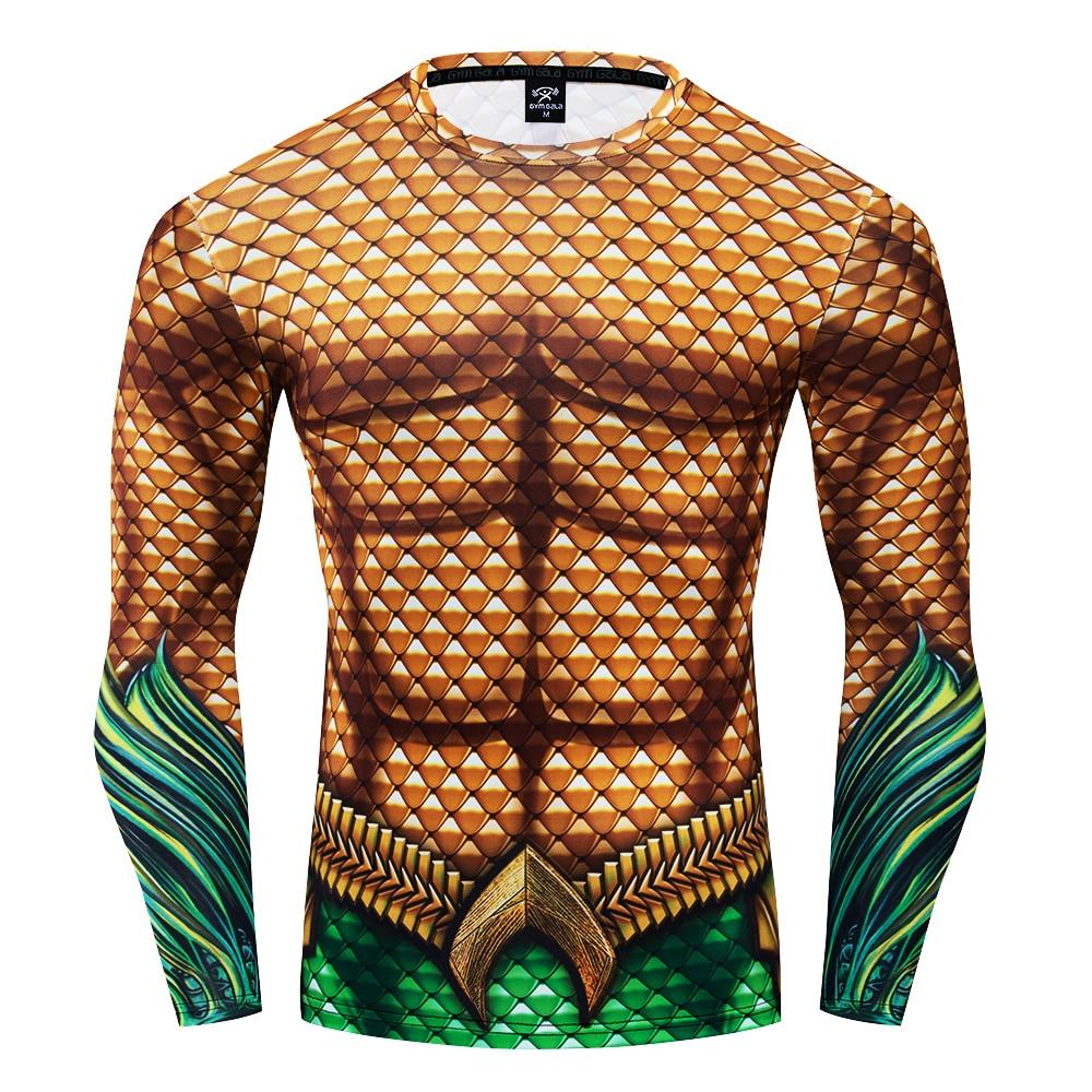 DC Superhero Aquaman Cosplay Compression Premium Print Costume T-shirt Finess Gym Quick-Drying Tight Tops