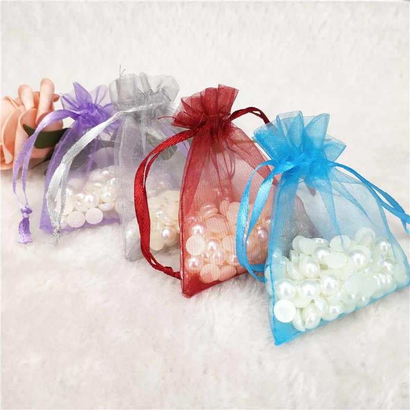 100 sztuk torby z organzy torby na prezenty dekoracje ślubne strona opakowanie na biżuterie etui pudełko torby ślubne Dragees Favor torby 17x23cm 6Z