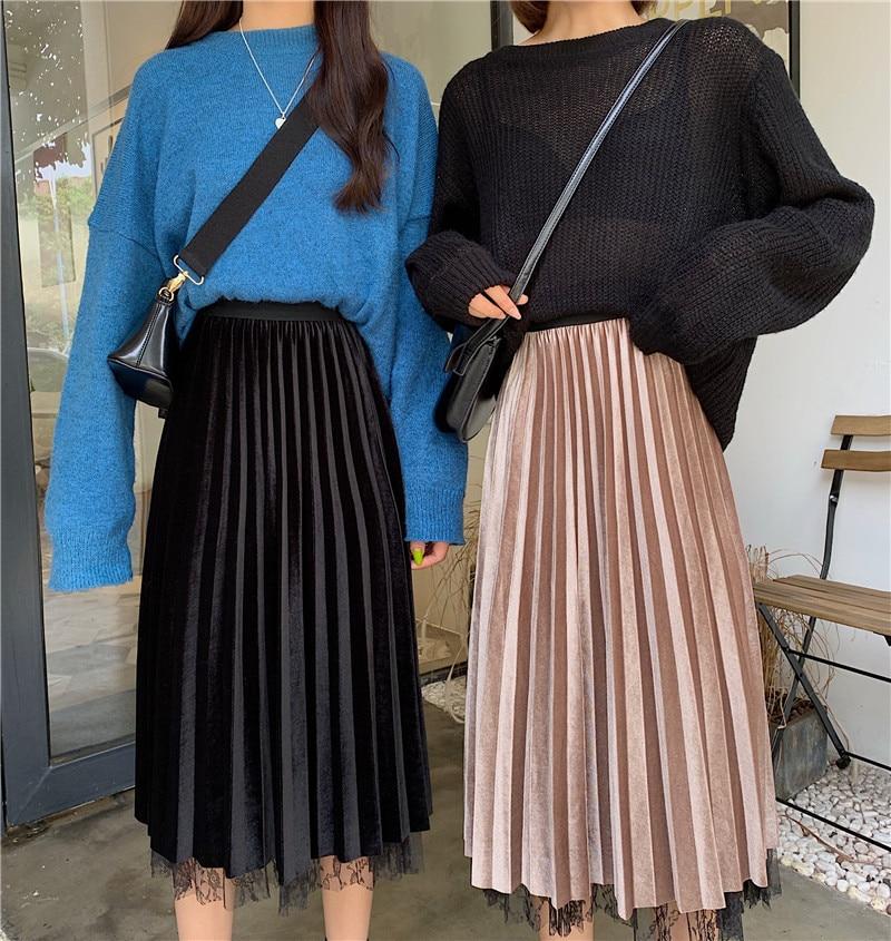 Photo Shoot 2019 Autumn Gold Velvet Half-length Lace Pleated Skirt 5183