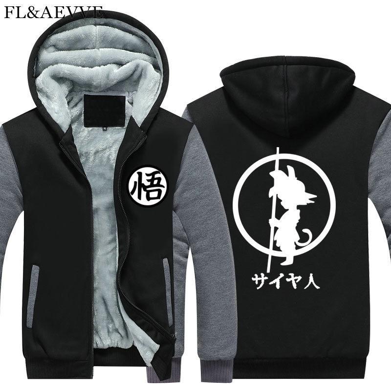 Зимние куртки и пальто Dragon Ball Z худи Аниме Сон Гоку с капюшоном Толстая молния мужские толстовки Длинный свитшот