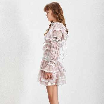 TWOTWINSTYLE Print Hollow Out Women Dress High Waist O Neck Ruffles Flae Sleeve Mini Dresses Female Spring 2019 Fashion New